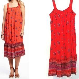 XXL OLD NAVY Red Smocked Gauze Swing Dress - NWT